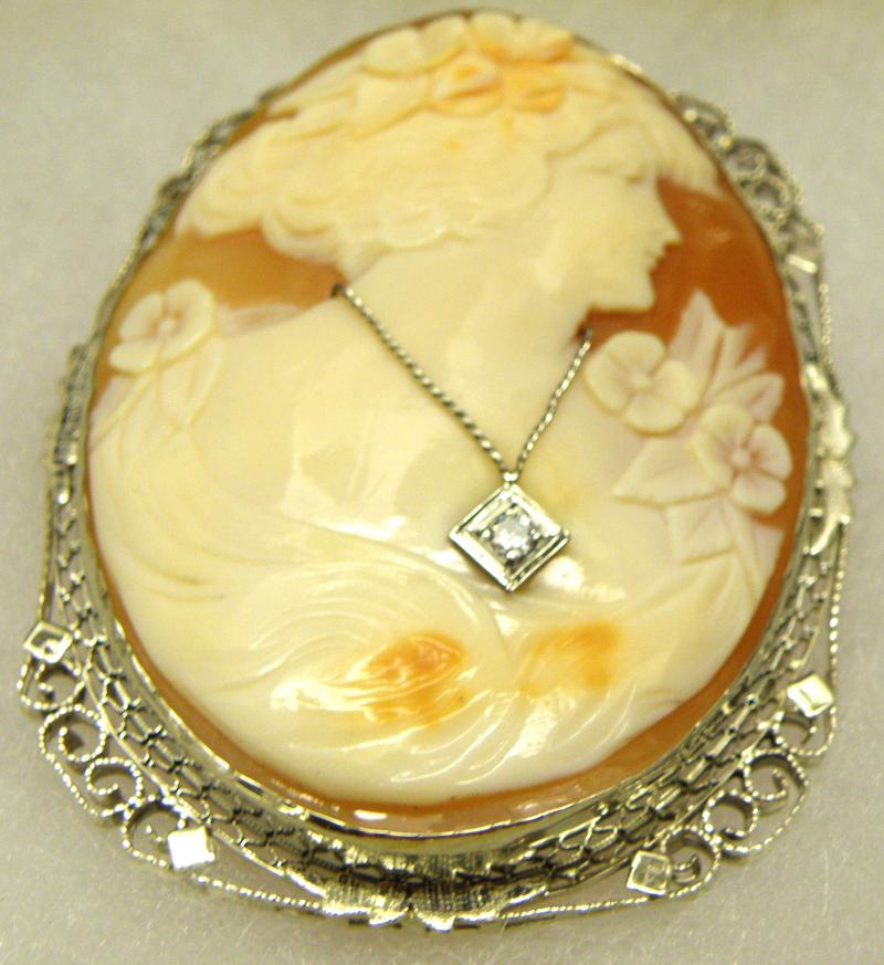 14 K White Gold Filigree Shell Cameo with Old Mine Diamond