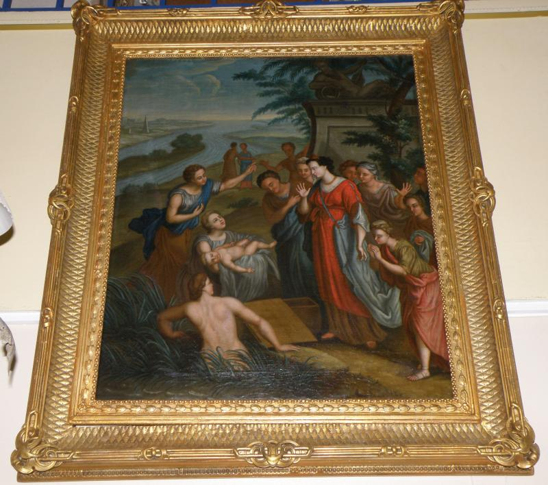 18th C Old Master Painting.  Moses rescued from the Nile. Bible Subject