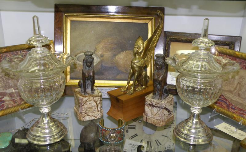 18th Century Irish Georgian Sweet Meat Urns, 19th C Pair French Bronze Sphinx on