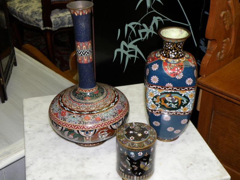 19th C Antique Japanese Vase, 19th C Japanese Covered Jar, 19th Century Cloisonn