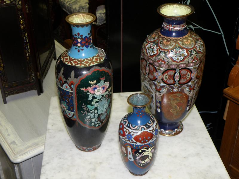 19th C Cloisonne Vase, 19th C Japanese Cloisonne Vase, smaller 19th C Cloisonne