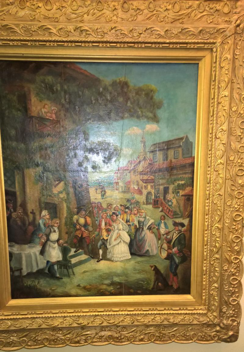 19th Century French Folk Painting of a Wedding Scene