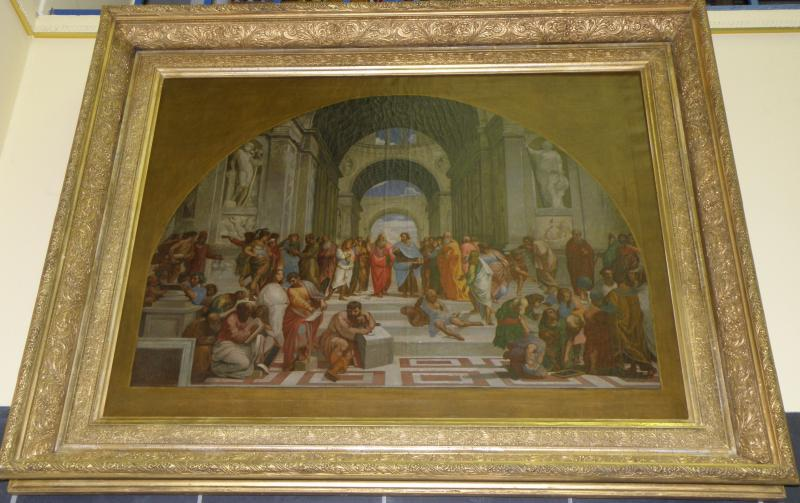 After Raphael, Italian  1483-1520. The School of Athens, Oil on Canvas Ca 19th C