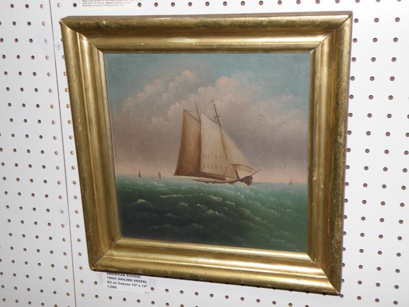American School  19th C Sailing Vessel oil on canvas