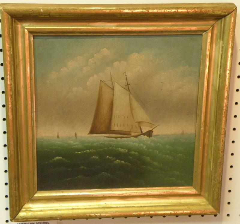 American School, 19th C Sailing Vessel, oil on canvas  12 x 12