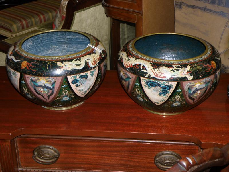 Antique rare pair of 19th Century Japanese Cloisonne Jars