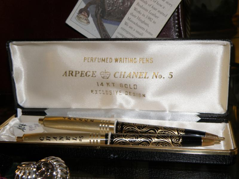 Arpege Chanel No 5 14 KT Gold Perfumed Writing Pens