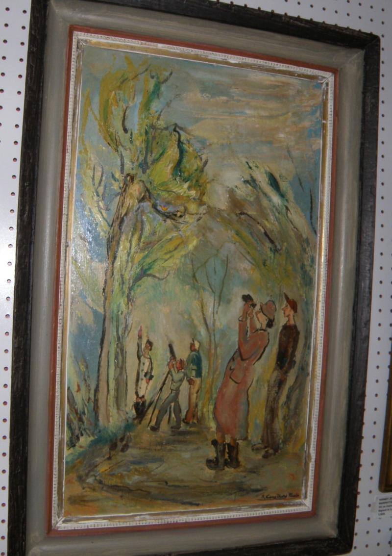 'Bird Watching, oil on masonite, 28 x 16, signed S. Carothers Rhode, titled vers