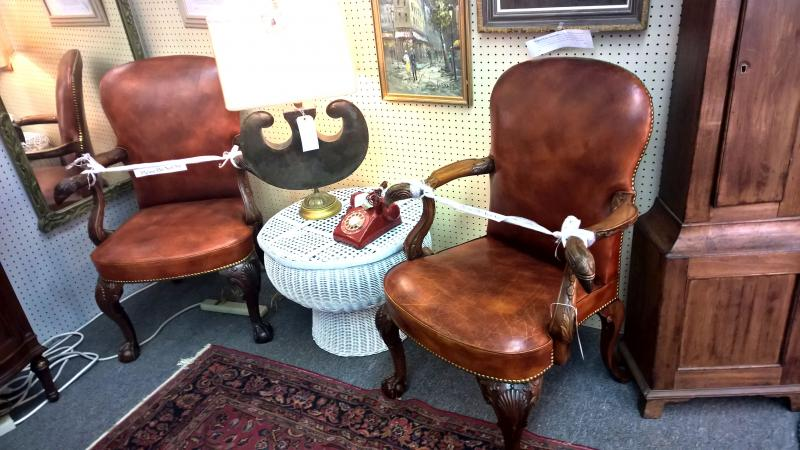 Carved Leather Arm Chairs. Early 1900s. Custom made by New Orleans Georgian Furn
