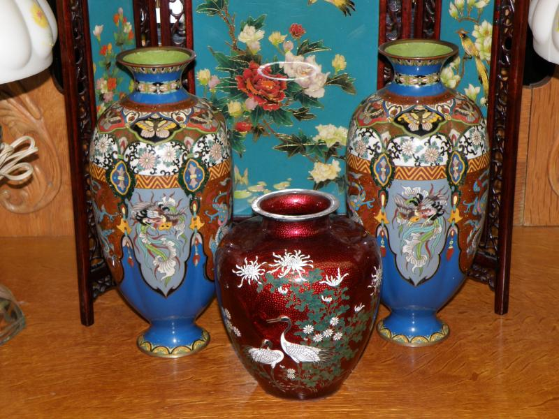 Center Cloisonne-Enamel and Embossed-Foil (Ginbari) Vase, Signed