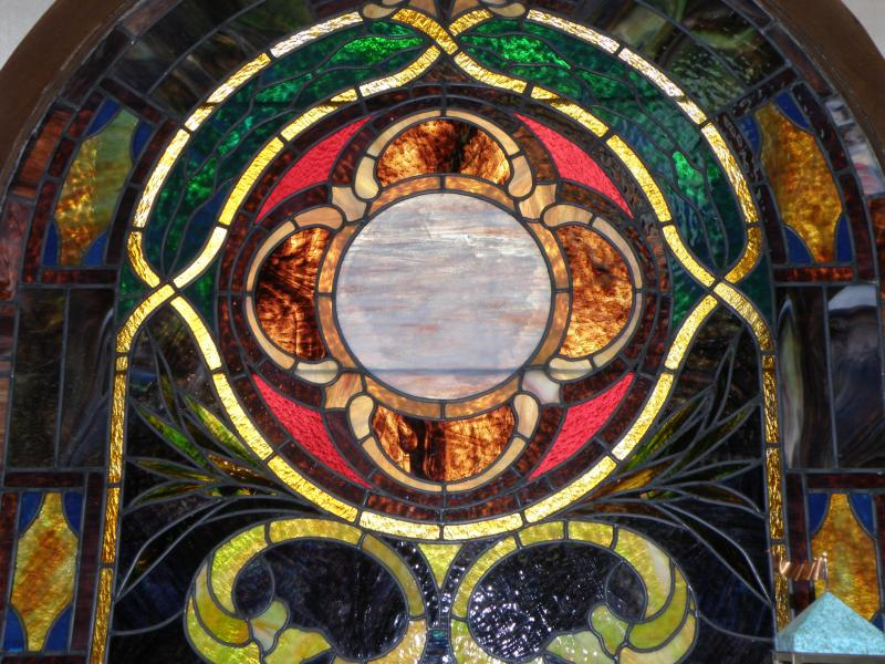 Church stained glass window top