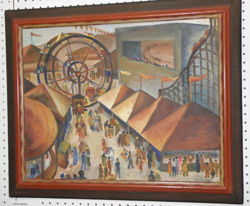 Circus Midway, Oil on Board 20 x 24. Signed verso 'Ethel Clxxx'