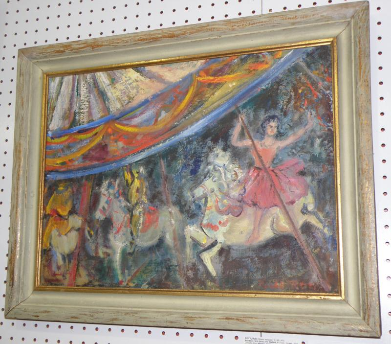 Circus merry-Go-Round Oil on Board by Rubi Roth.  16 x 21, signed