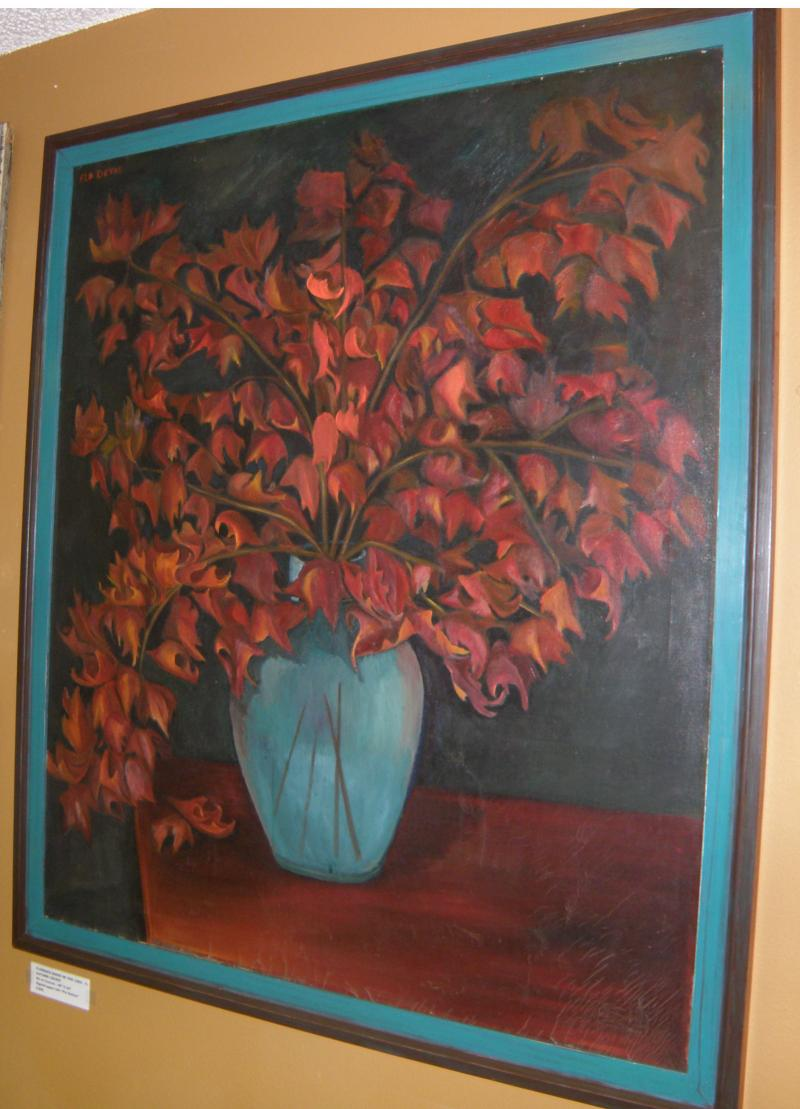 Florence Marie De Vos (1892- ).  Autumn Leaves  oil on canvas 40 x 34. Signed up