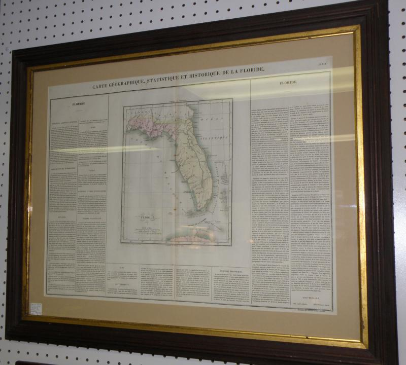 French Map of Florida, 1820's. Atlas information verso