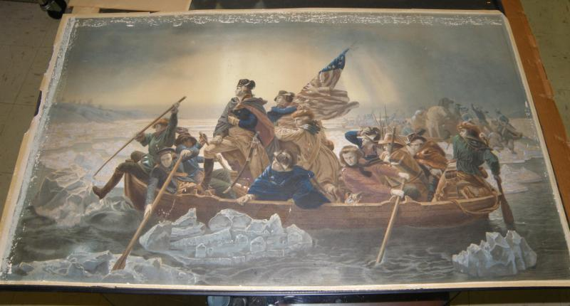 Gearge Washington Crossing the Deleware  rare old lithograph