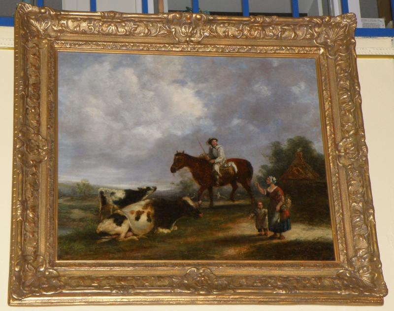 German 1800s Genre oil on canvas by Gottlieb Preshel (1806-1885). Signed and dat