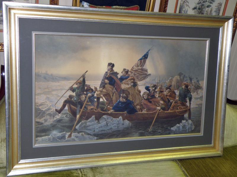 George Washington Crossing the Deleware. Very rare old lithograph. Painted by
