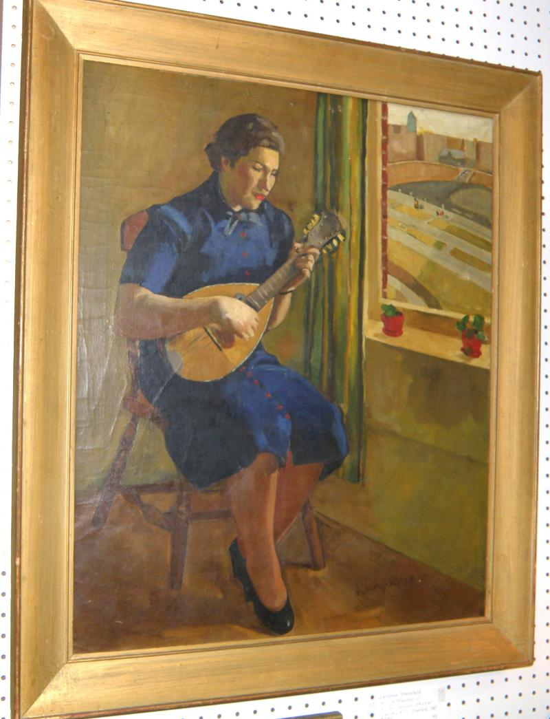 Girl with Mandolin, Oil on Canvas by Laurence Steinfeld, Signed LR 'L. Steinfeld