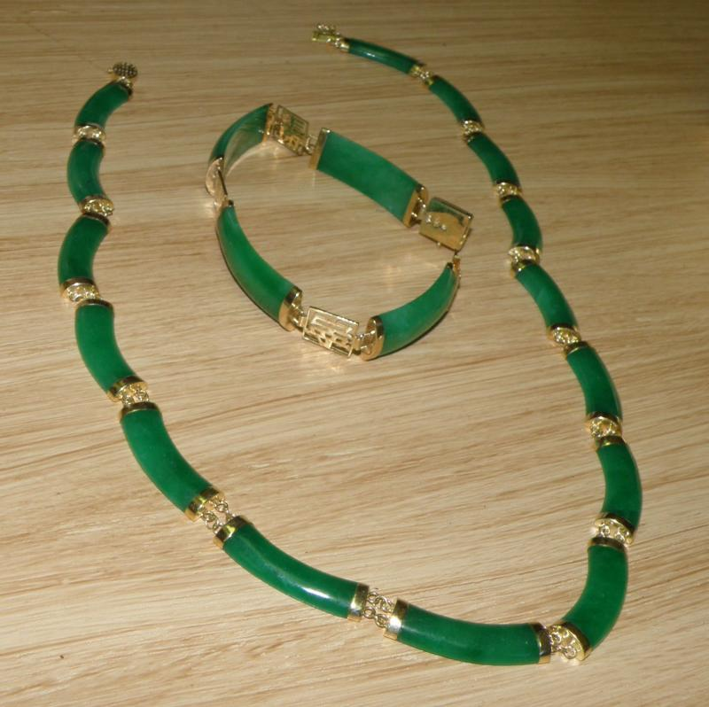 Green Jade and 14 K Gold Necklace and Bracelet