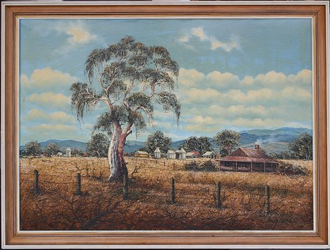 "Guth, Henk Gerrit, Large oil on canvas of Outback landscape. ""CountryScene Whoro"