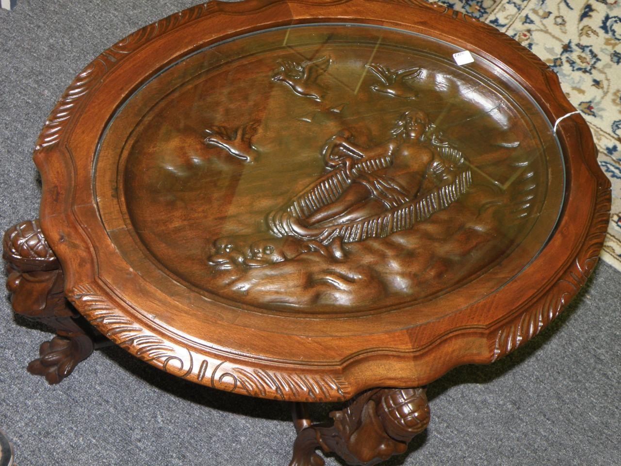Hand Carved Mahogony Table With Glass Top