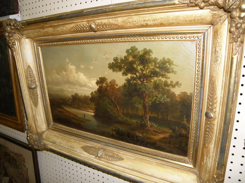 Hudson River Valley landscape. Oil on canvas in original gilded frame with fruit