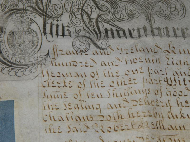 Indenture manuscript, calligraphy on parchment with stamps and wax seals, 1728