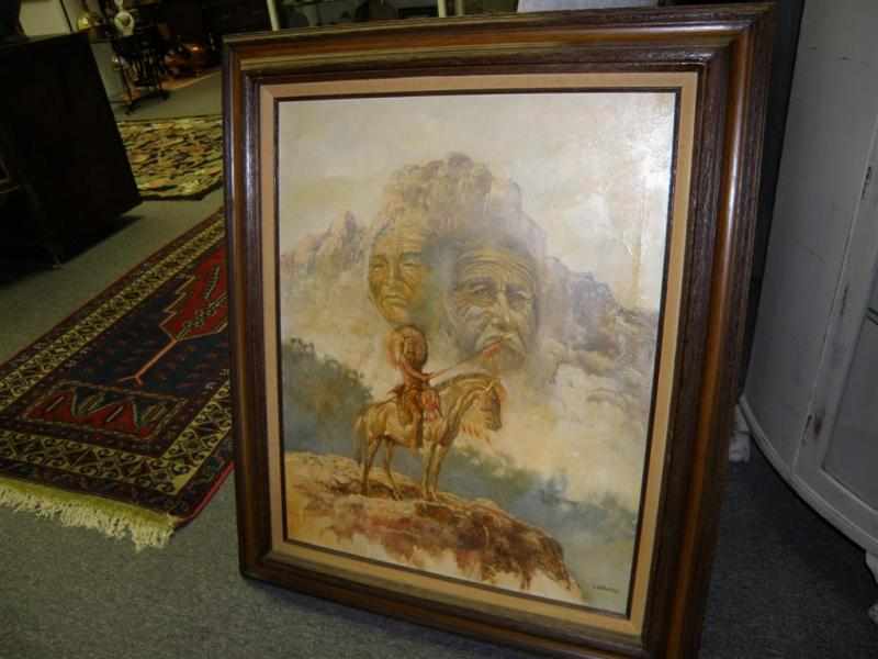 Indian Chief by G. Bogard  oil on canvas