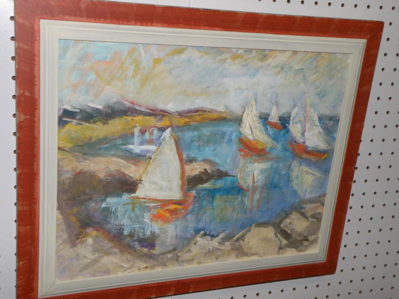 J. Rose A. Jacobsen (Blue) 1891-1987  Sailboats oil on canvas