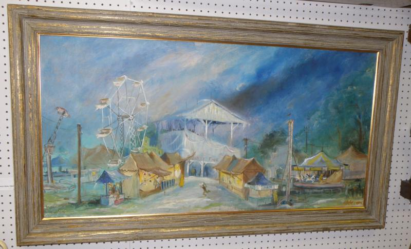 James Robe, Florida County Fair, Oil on Masonite  24 x 48. Signed LR 'JK. Robe