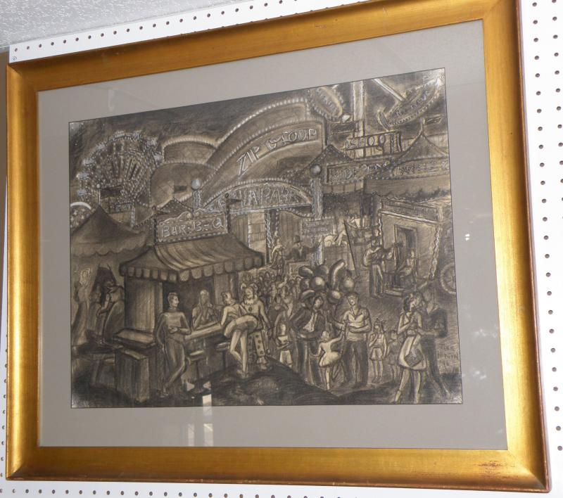 Jane Horton (Amer 20th C.), 'Midway', Charcoal Drawing  19 x 25.  Signed LR 'Jan