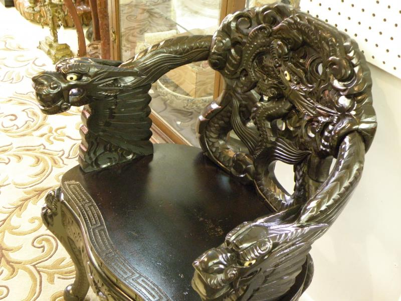 Japanese Carved Chair with three Dragons