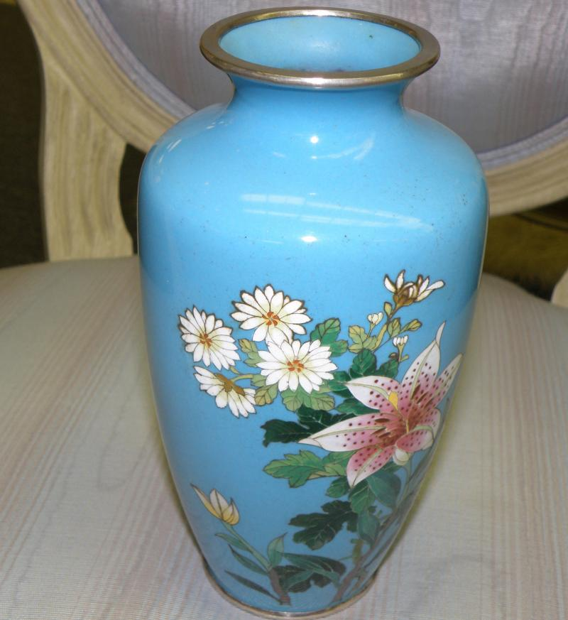 Japanese Silver Wire Cloisonne Vase