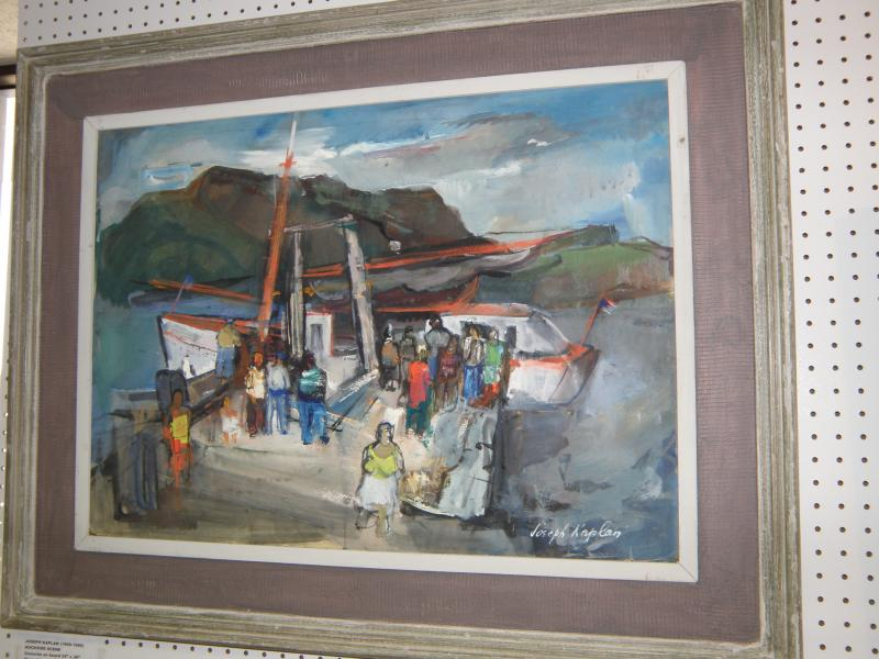 Joseph Kaplan 1900-1980 Dockside Scene  oil on canvas