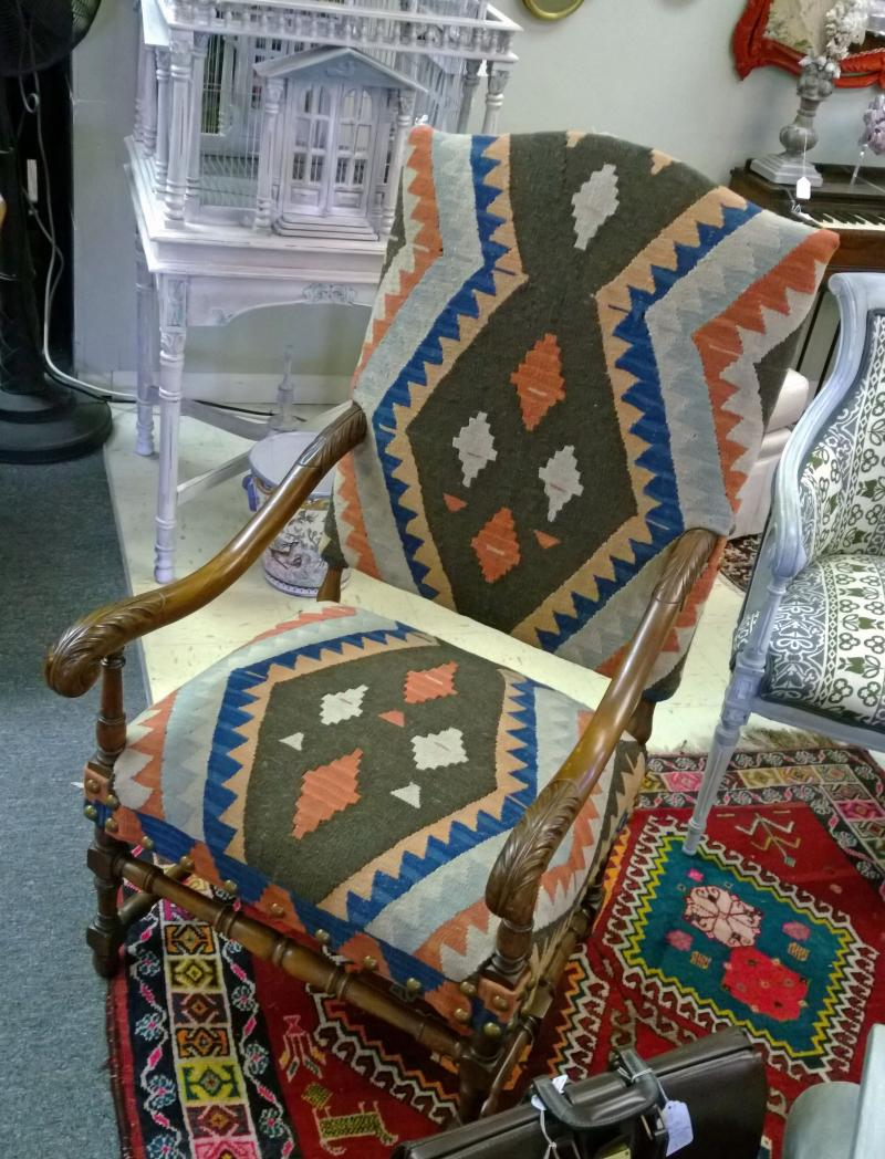 Arm Chair Upholstered with Rug