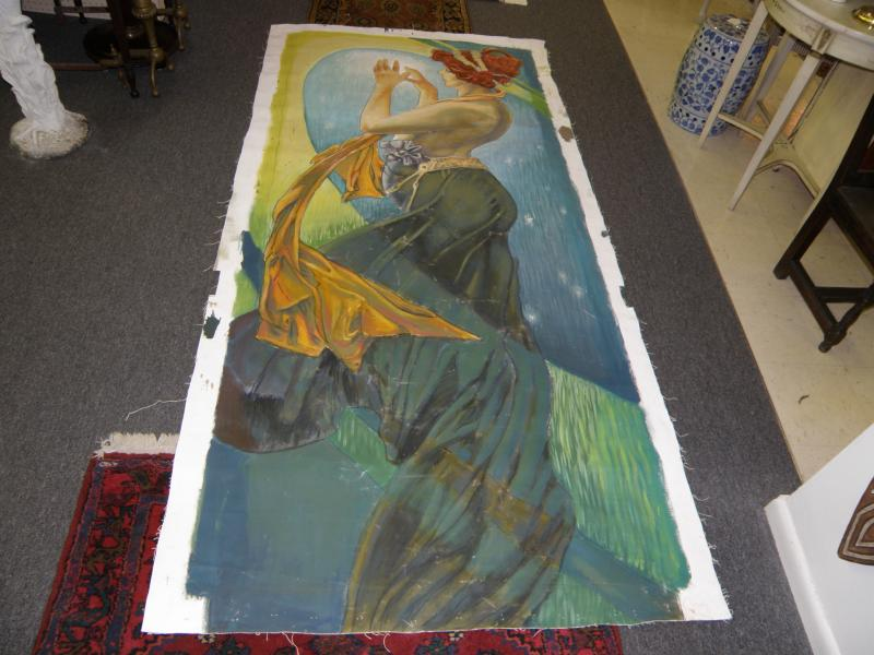 Large unframed oil on canvas of lady in flowing dress  98' H x 52' W  52' W t