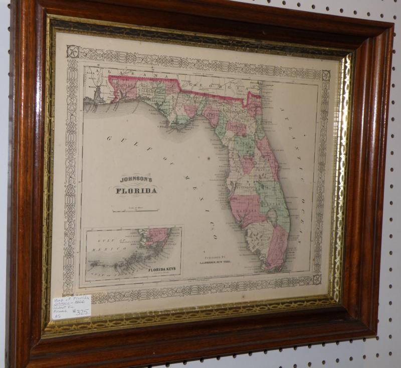 Map of Florida by Johnson, 1866 in a Walnut Victorian Frame