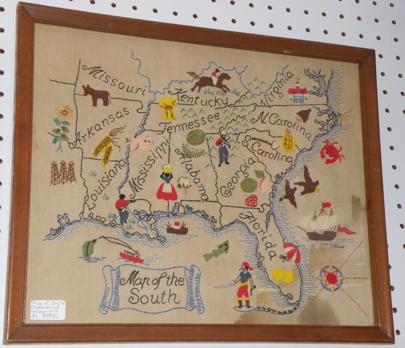 Map of the South, Embroidered wth Applique