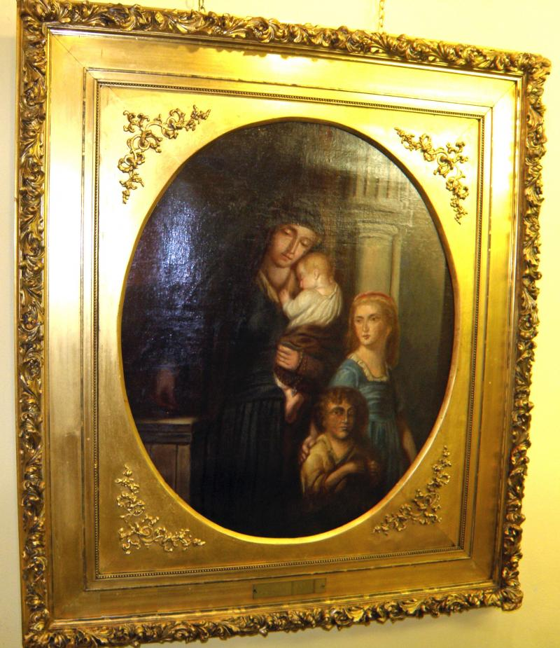 Mother and Children, 19th C. Oil on Canvas