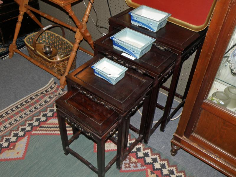 Nested (4) Chinese Rosewood 19th Century Tables
