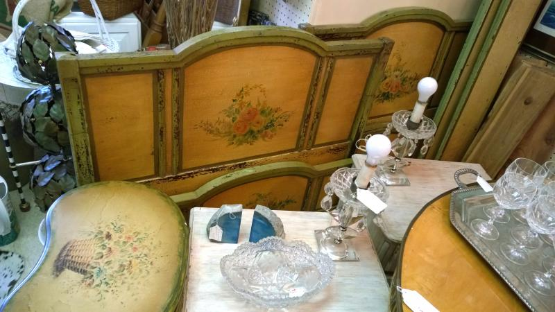 Nicely painted twin beds and Kidney Coffee Table