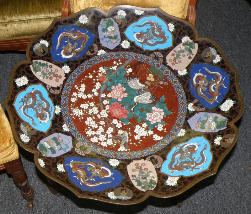 One cloisonne charger close up