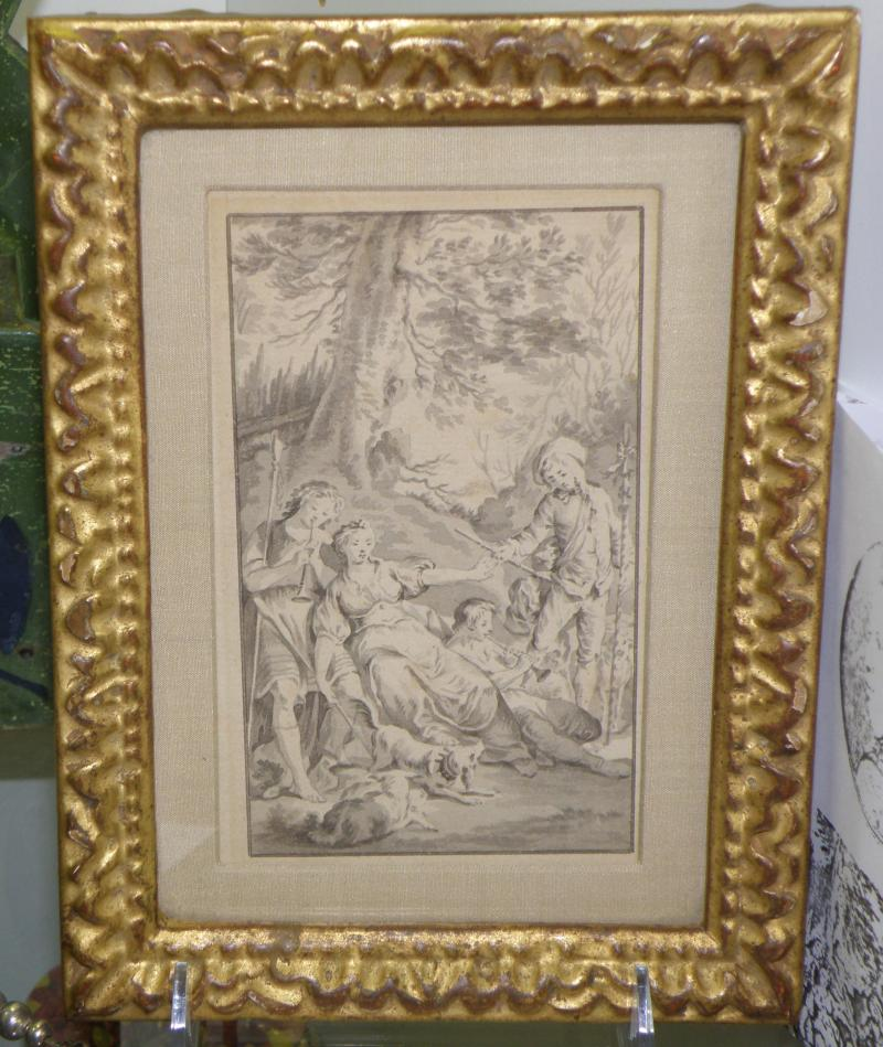 Original French Wash Drawing by Charles-Nicolas Cochin le Jeune  1715-1790 