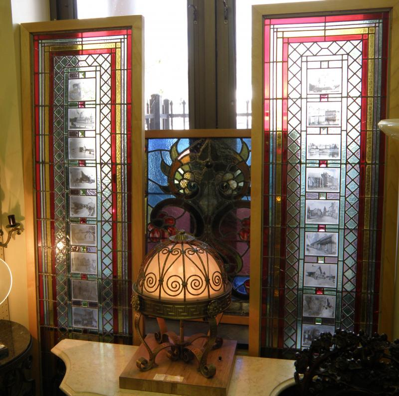 Pair stained glass windows with insets