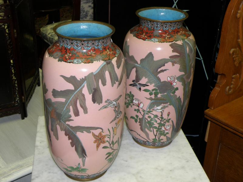 Pair 19th Century Cloisonne Vases