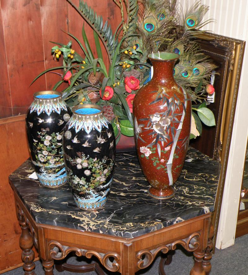 Pair 19th Century Imperial Tsunami Cloisonne Vases  and 19th Century Large Speck