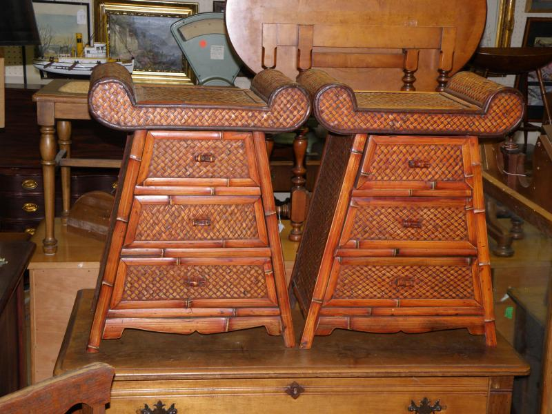 Pair of Chinese Wicker Night Stands