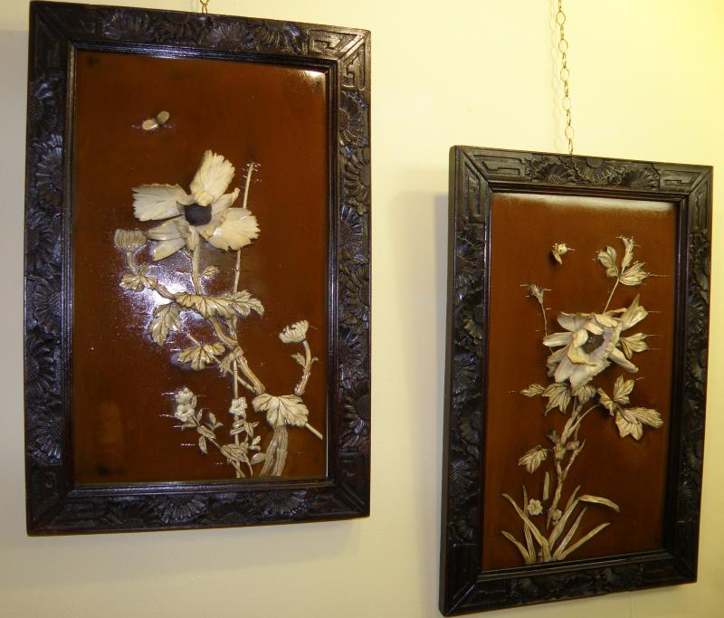 Pair of Chinese wooden panels with Ivory flowers