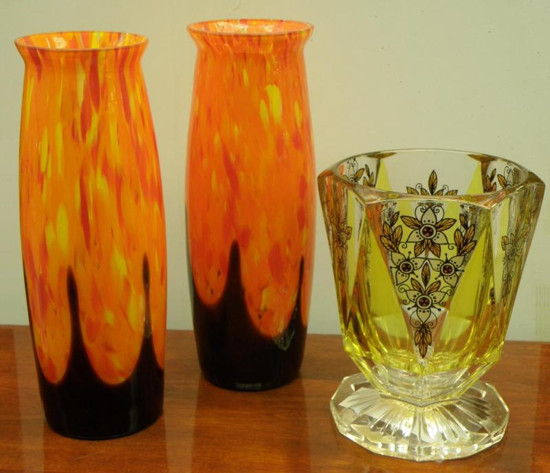 Pair of Orange Flame Vases and Bohemian Haida Novy Bor Transprent Enamel Vase
